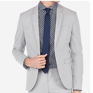 Express Extra Slim Gray Stripe Stretch Suit Jacket